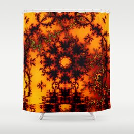 Mystical Golden Fire Lake, Abstract Fractal Baroque Illusion Shower Curtain