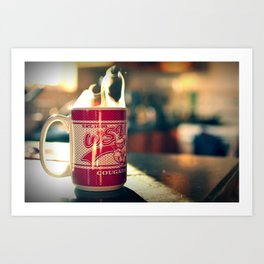 Hot cup of coffee on a Sunday morning Art Print