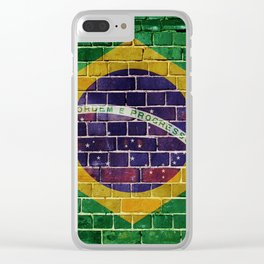 Brazil flag on a brick wall Clear iPhone Case