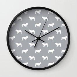 English Bulldog pattern grey and white minimal modern dog art bulldogs silhouette Wall Clock