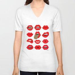 Leopard Lips of Love Unisex V-Neck