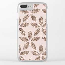 Sparkling rose gold floral Clear iPhone Case