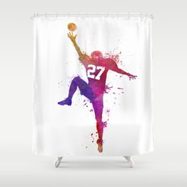 american football player man catching receiving silhouette Shower Curtain