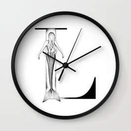 Mermaid Alphabet Series - L Wall Clock