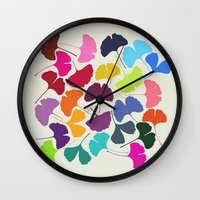 camus Wall Clocks featuring Ginkgo Multicolor by Garima Dhawan