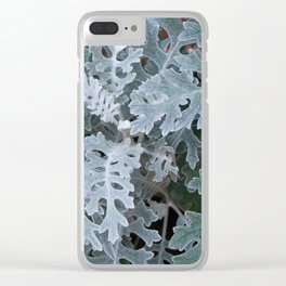 Dusty Miller Leaves Clear iPhone Case