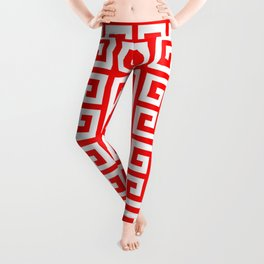 Greek Key (Red & White Pattern) Leggings