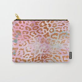 Leopard Print Pattern - Animal Print Design Pink Watercolor Carry-All Pouch
