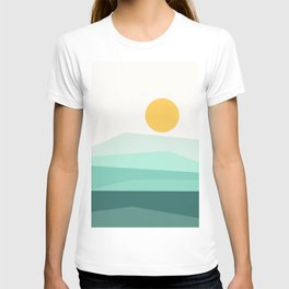 Abstract Landscape 09 Ice Blue T-shirt