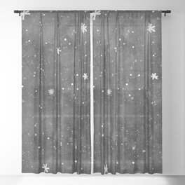 Watercolor galaxy - black and white Sheer Curtain
