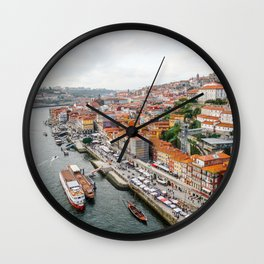 Beautiful Porto. Ribeira area and the Douro River. Wall Clock