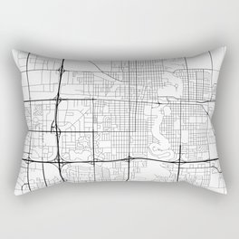 Fargo Map, USA- Black and White Rectangular Pillow