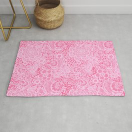 Christmas Pink Lace Doves and Flowers Rug
