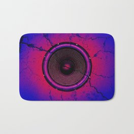 Red music speaker on a cracked wall Bath Mat