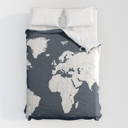 Minimalist World Map in Navy Blue Comforters