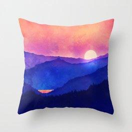 Cobalt Mountains Throw Pillow