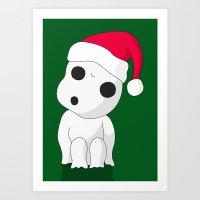 kodama Art Prints featuring Christmas Kodama by Paul K Arnold