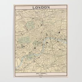 Vintage Map of London England (1901) Poster