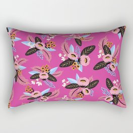 Magenta Floral Patern Rectangular Pillow