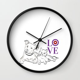 Cat & Dog LOVE Gifts Wall Clock