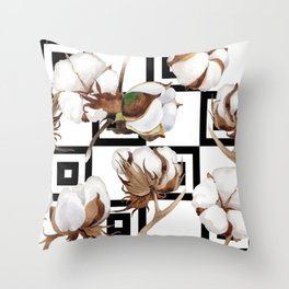 Cotton Flower Pattern 05 Throw Pillow
