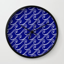 Rough Sea Pattern - white on blue Wall Clock