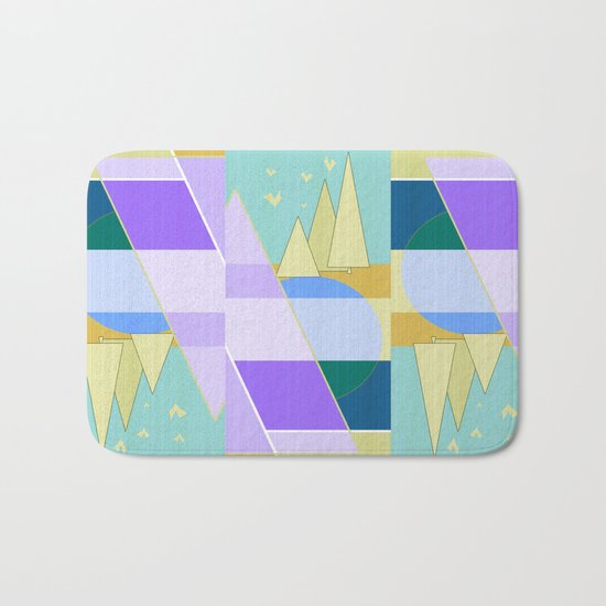 Abstraction in purple and blue colors .  Bath Mat