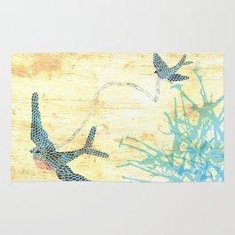 Birds of blue Rug