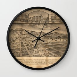 Vintage Bird's Eye Map Illustration - San Jacinto, San Diego County, California (1886) Wall Clock