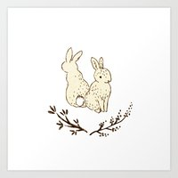 bunnies Art Prints featuring bunnies by itsbyrosie