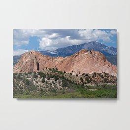 Pikes Peak behind Kindergarten Rock at Garden of the Gods, Colorado Springs, CO. Metal Print