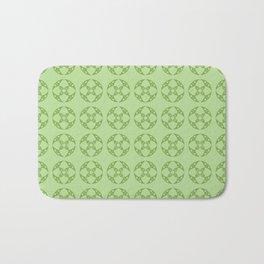 Art Deco Vintage Stylized Flowers Pattern 1 Green Bath Mat