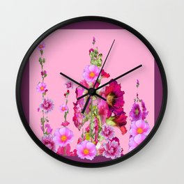 Puce Purple Color, Pink flowers Art Wall Clock