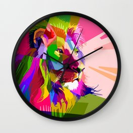Colorful Lion Head (Illustration) Wall Clock