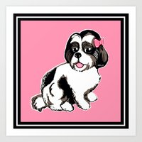 shih tzu Art Prints featuring Shih Tzu Puppy  by Artist Abigail