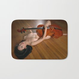 0149-JC Nude Cellist with Her Cello and Bow Naked Young Woman Musician Art Sexy Erotic Sweet Sensual Bath Mat