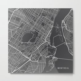 Montreal Map, Canada - Gray Metal Print