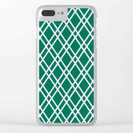 Teal green and white rhombus lines pattern Clear iPhone Case