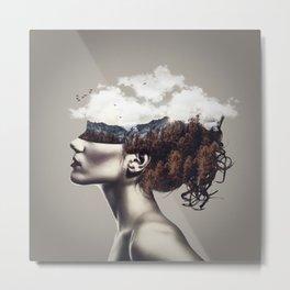 Blindfolded woman Metal Print