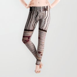 Pattern Of Used Wooden Planks Painted Red Leggings