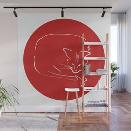 Relaxing Cat in red circle Wall Mural