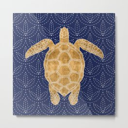 Golden Turtle Metal Print