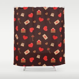 With Love. seamless  pattern red hearts,envelopes and keys Shower Curtain