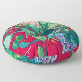 Two Proteas on Red, Pink, and Purple Floral Still Life with Fynbos Floor Pillow