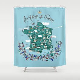 Map of french vineyards Shower Curtain