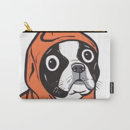 Boston Terrier Orange Hoodie Carry-All Pouch