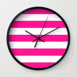 Deep pink - solid color - white stripes pattern Wall Clock