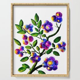 Blue Pink Yelow Flower Branch Clip Art Serving Tray