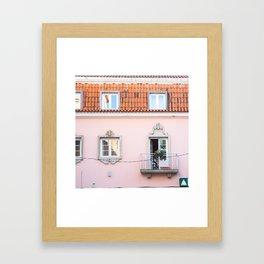 Pink House in Cascais Framed Art Print