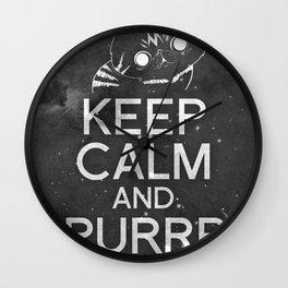 Exo Cat : Keep Calm  And Purrr Meow! Wall Clock